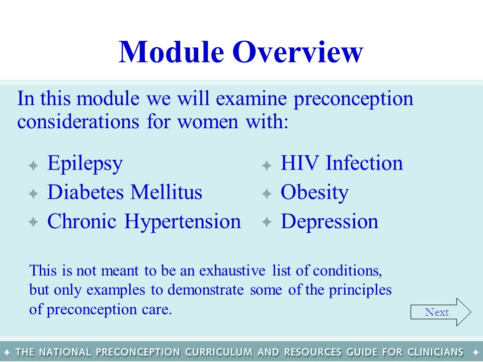Module Overview Epilepsy Diabetes Mellitus Chronic Hypertension
