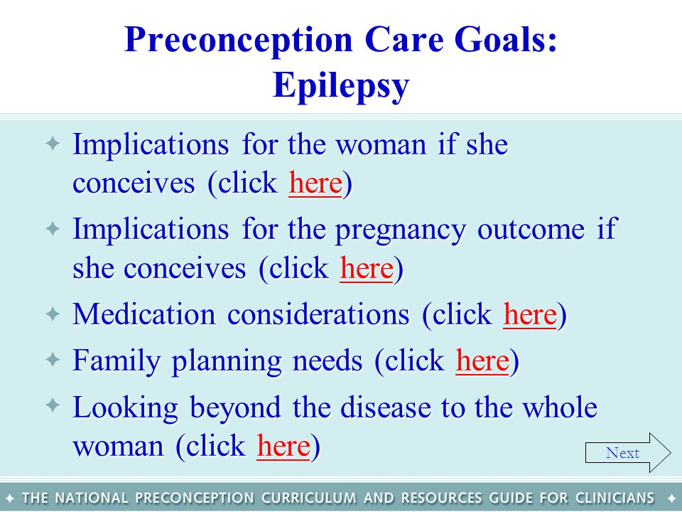 Preconception Care Goals: Epilepsy
