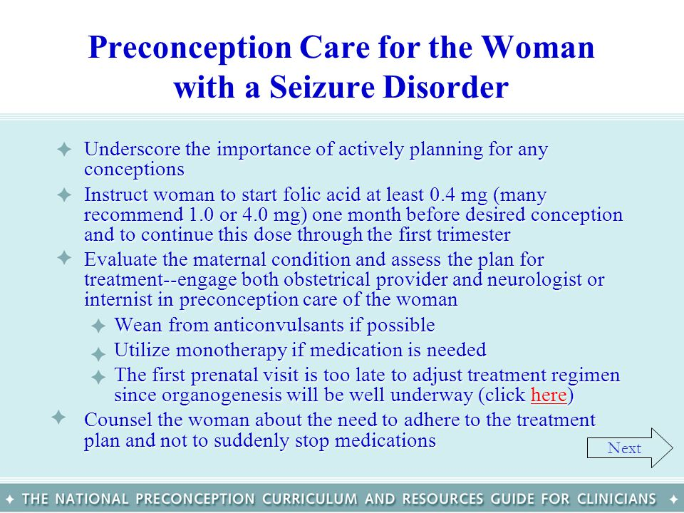 Preconception Care for the Woman with a Seizure Disorder