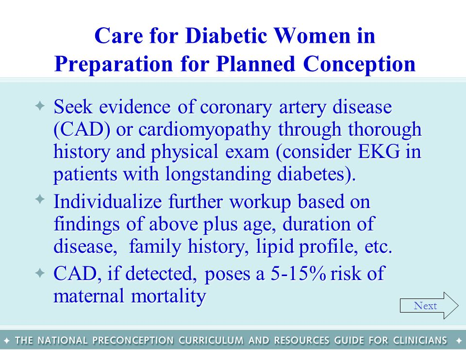 Care for Diabetic Women in Preparation for Planned Conception