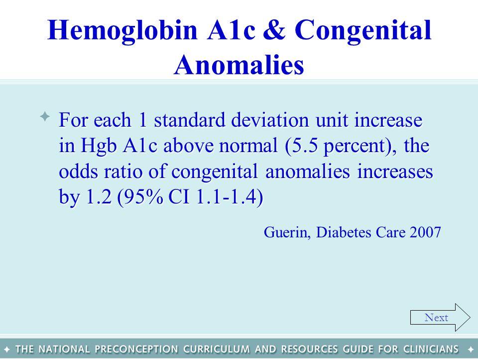 Hemoglobin A1c & Congenital Anomalies