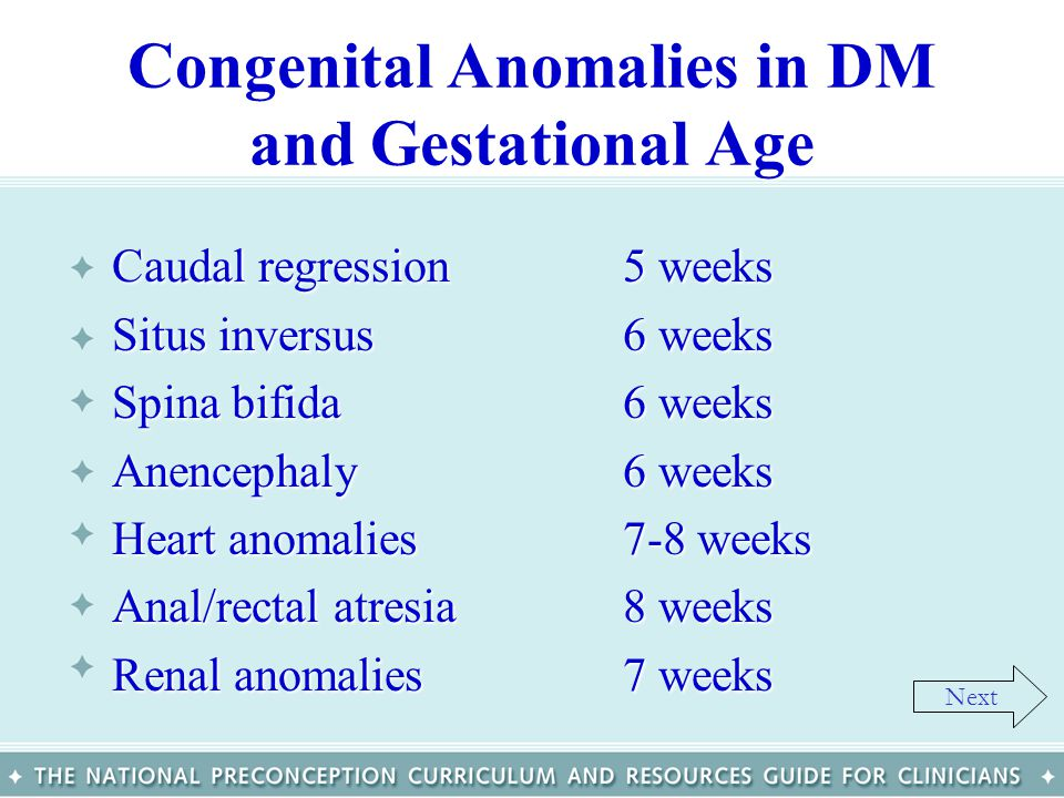 Congenital Anomalies in DM and Gestational Age