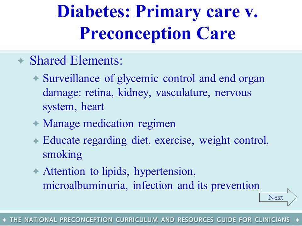 Diabetes: Primary care v. Preconception Care
