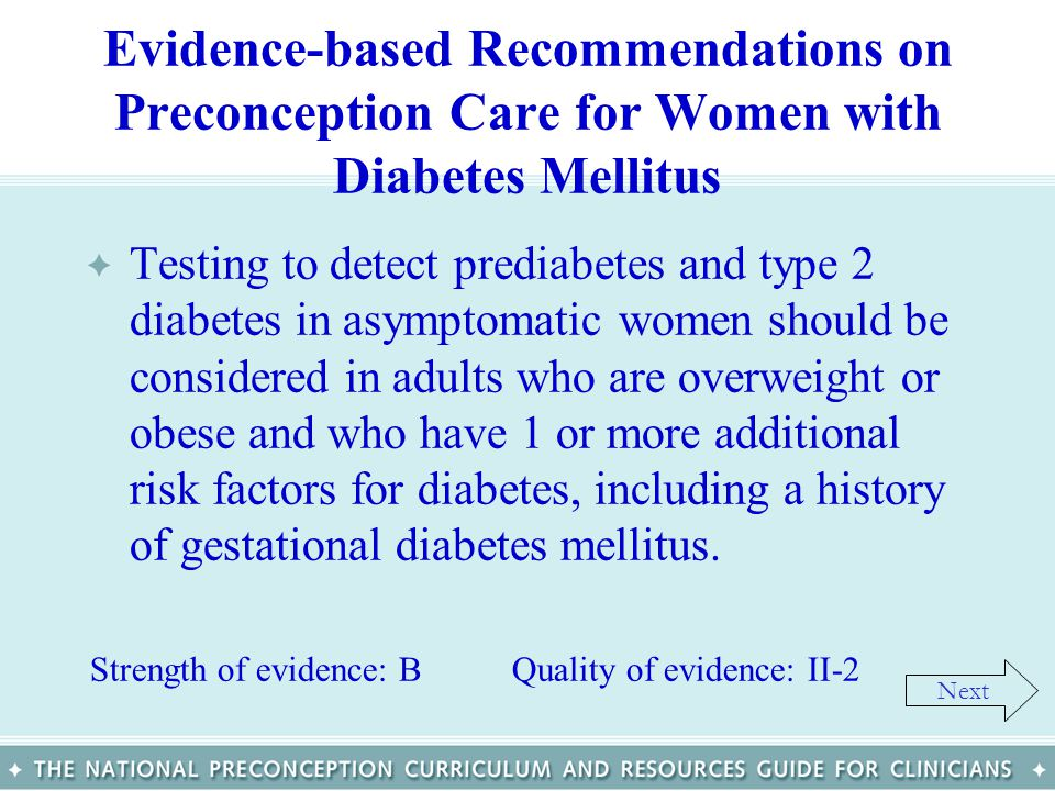 Evidence-based Recommendations on Preconception Care for Women with Diabetes Mellitus