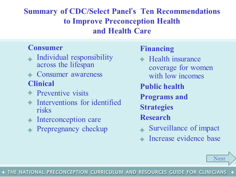 Summary of CDC/Select Panel's Ten Recommendations to Improve Preconception Health and Health Care