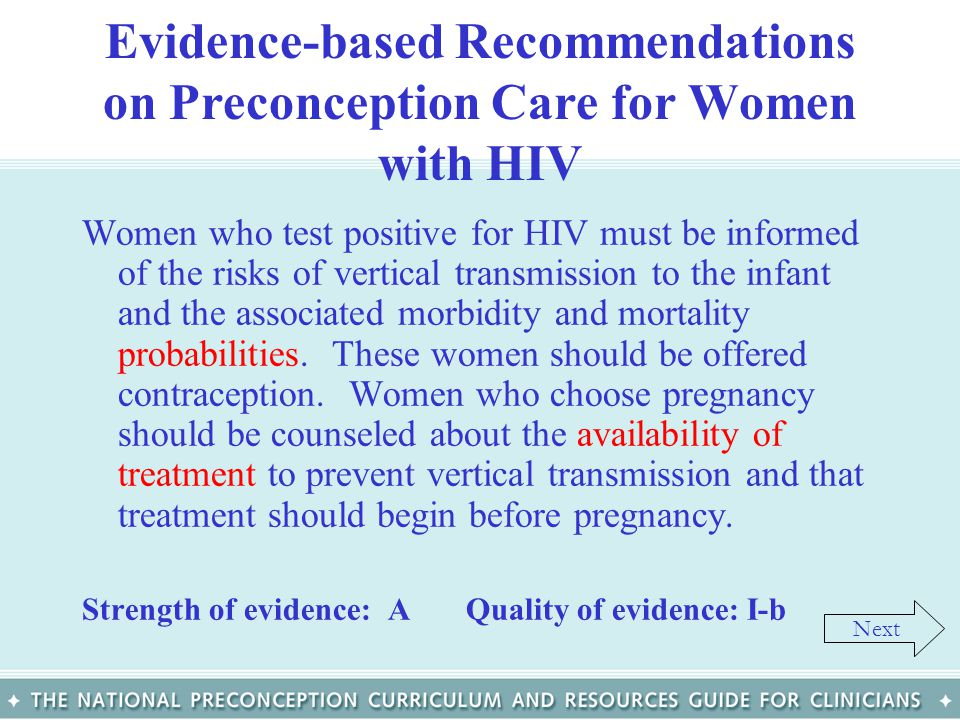 Evidence-based Recommendations on Preconception Care for Women with HIV