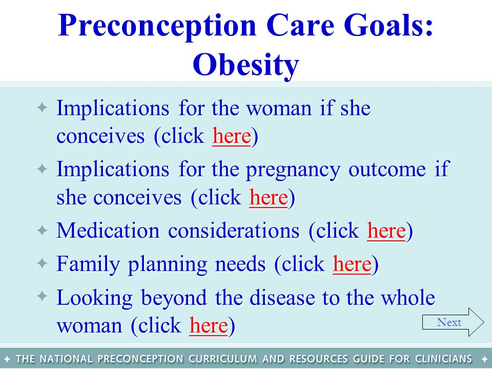 Preconception Care Goals: Obesity