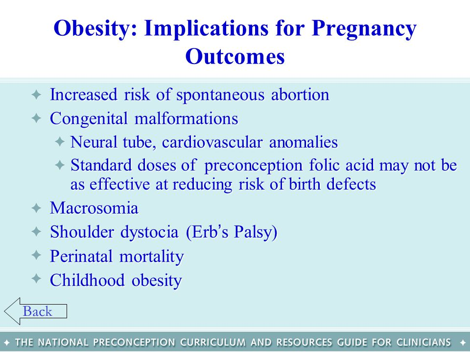 Obesity: Implications for Pregnancy Outcomes