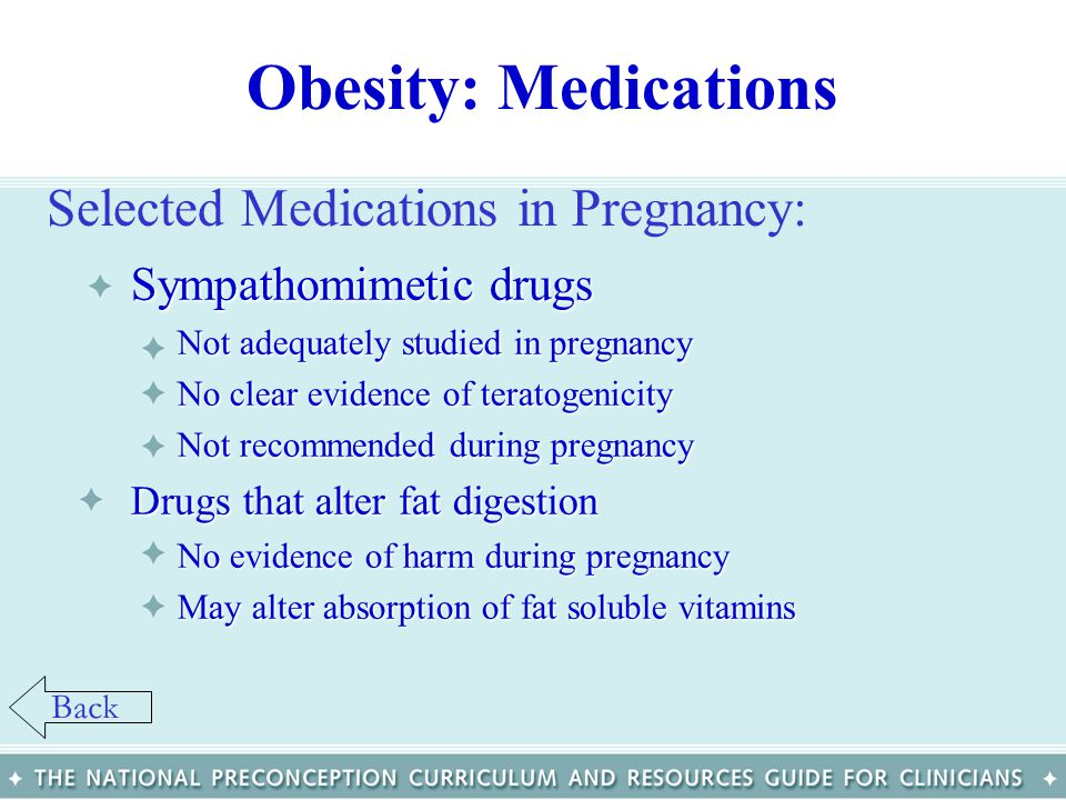 Obesity: Medications Selected Medications in Pregnancy: