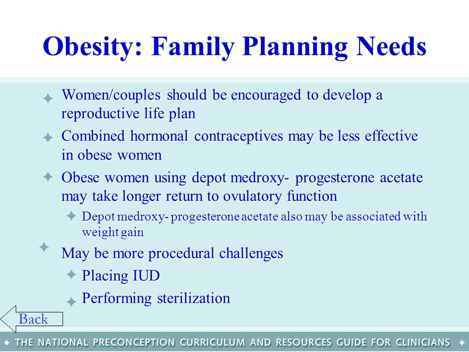 Obesity: Family Planning Needs