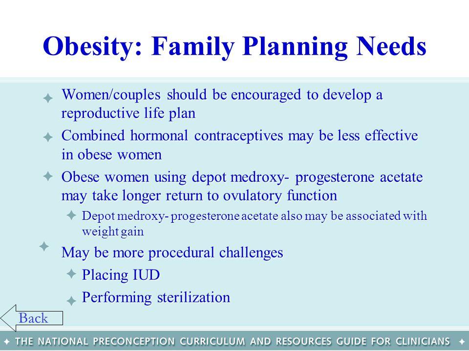 Obesity: Family Planning Needs