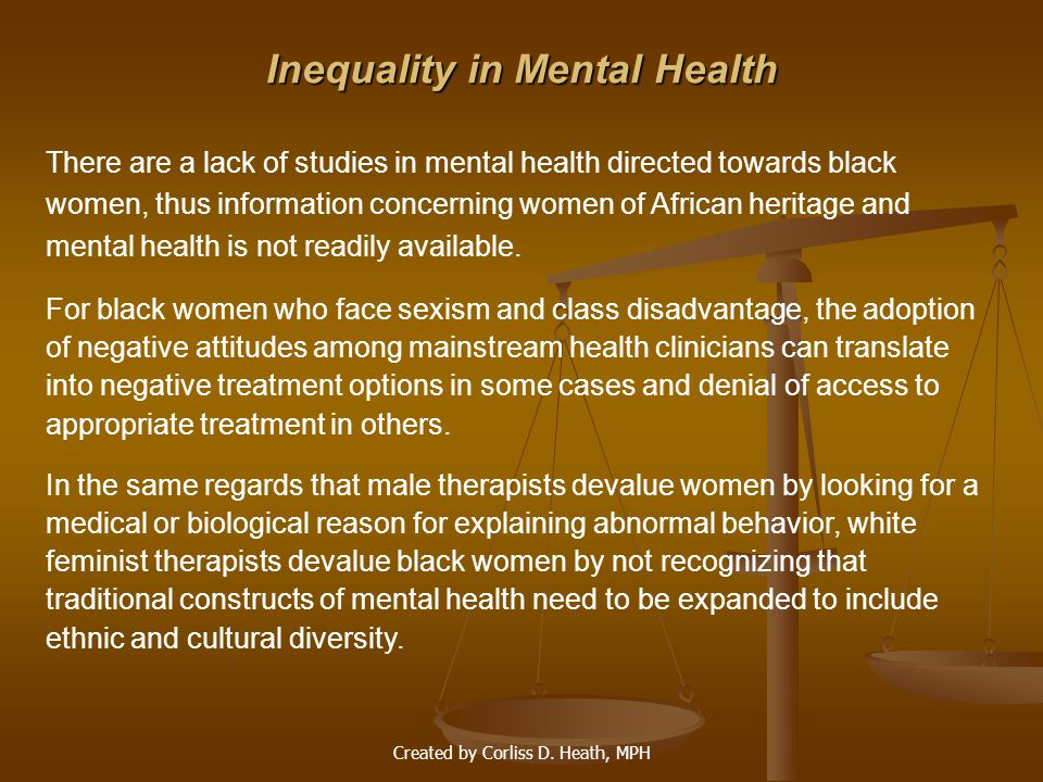 Inequality in Mental Health