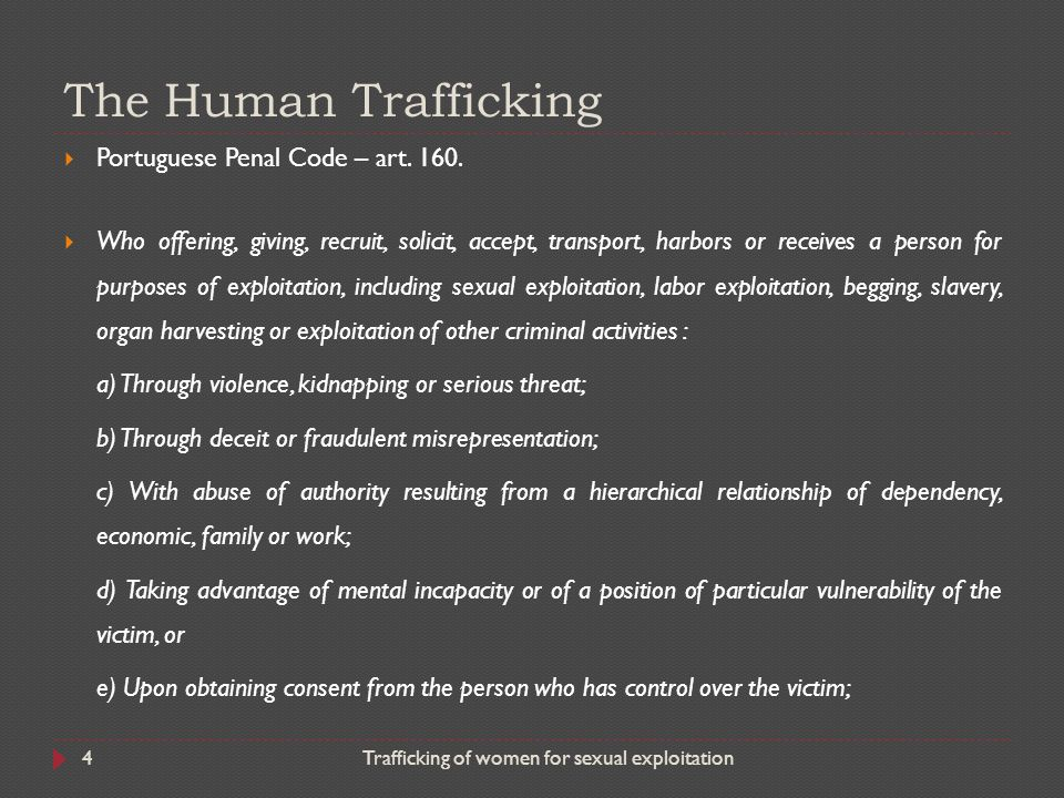 The Human Trafficking Portuguese Penal Code – art. 160.