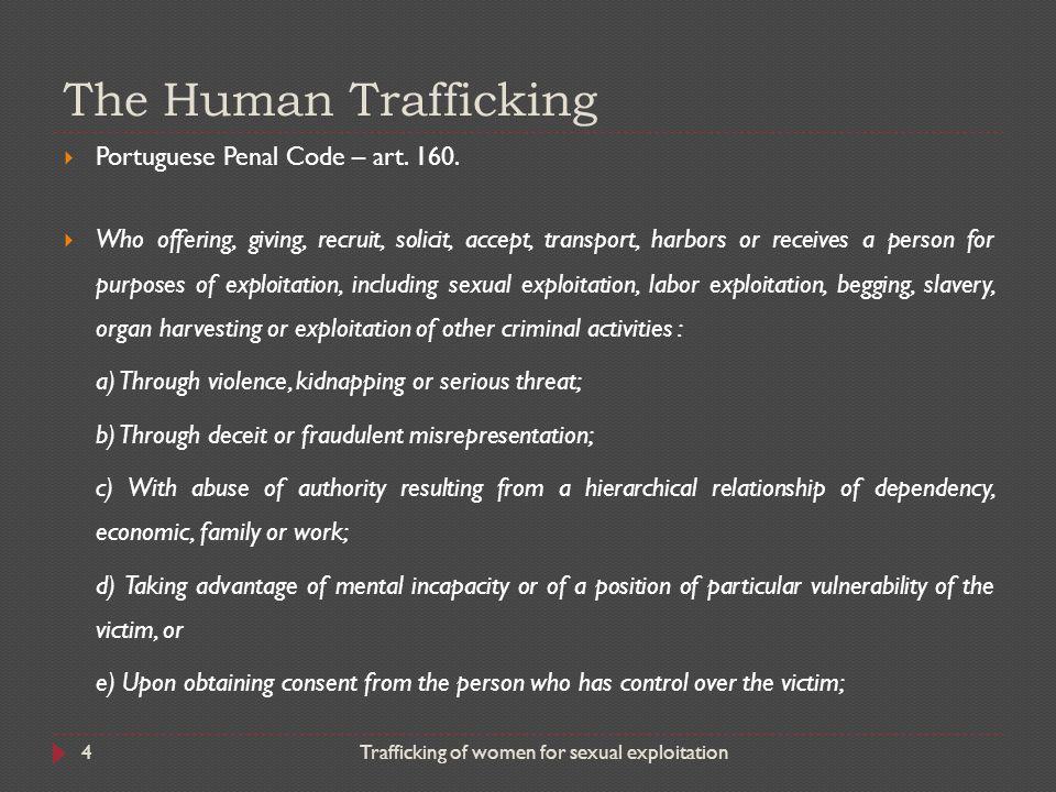 The Human Trafficking Portuguese Penal Code – art. 160.