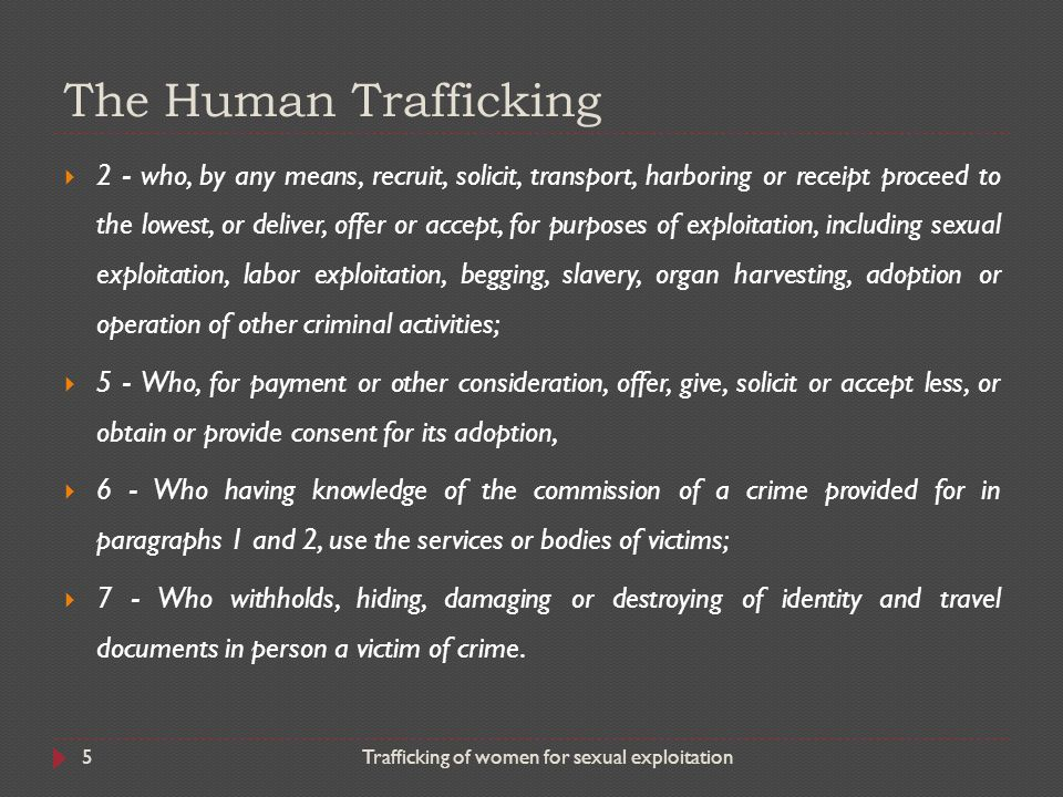 human trafficking for sexual exploitation the As required by law, this section summarizes actions taken by the united nations (un), the north atlantic treaty organization (nato), and the organization for security and co-operation in europe (osce) to prevent trafficking in persons or the exploitation of victims of trafficking 103 allegations.