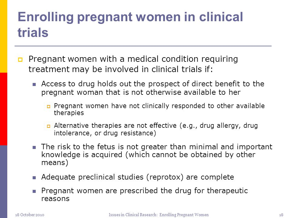 Enrolling pregnant women in clinical trials