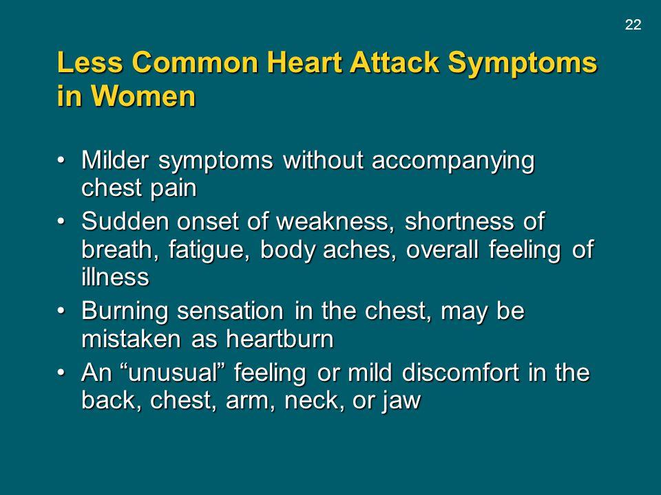 Less Common Heart Attack Symptoms in Women