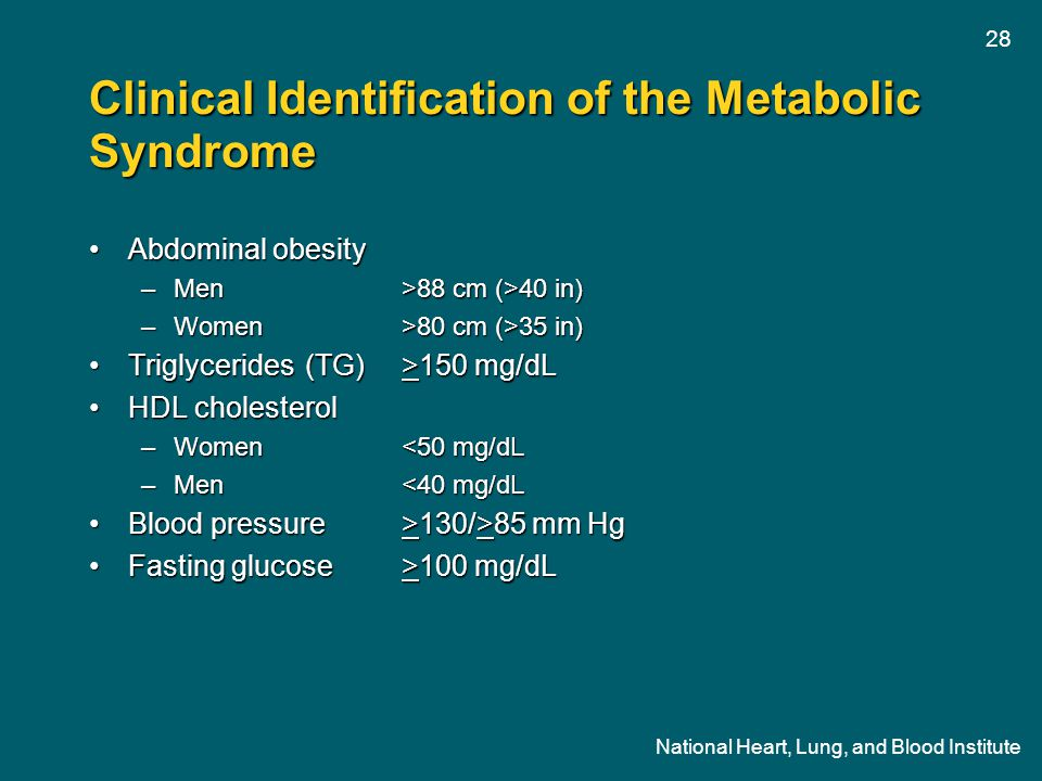 Clinical Identification of the Metabolic Syndrome