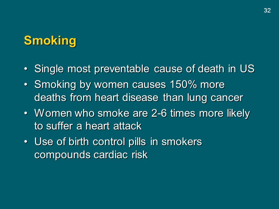 Smoking Single most preventable cause of death in US
