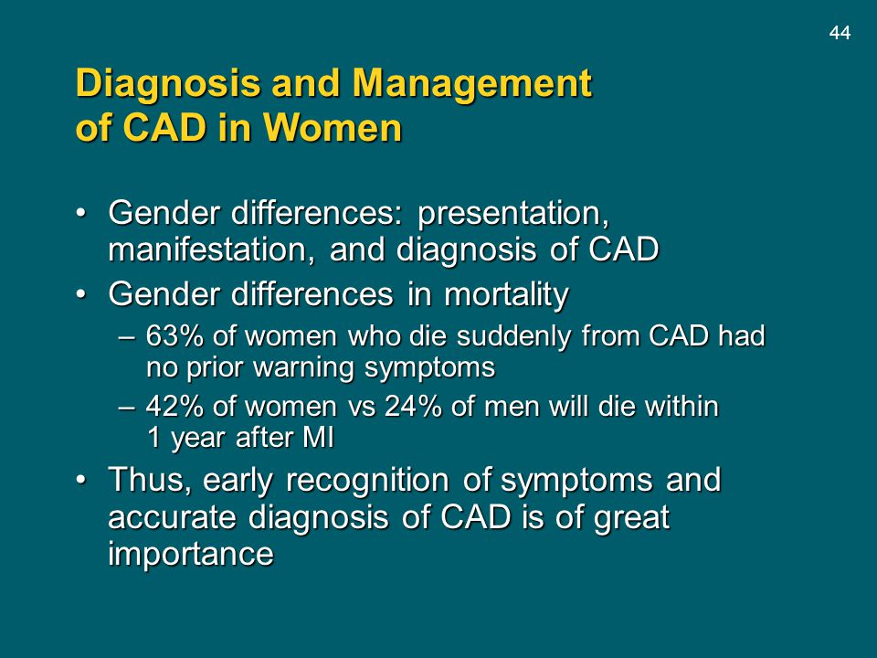 Diagnosis and Management of CAD in Women