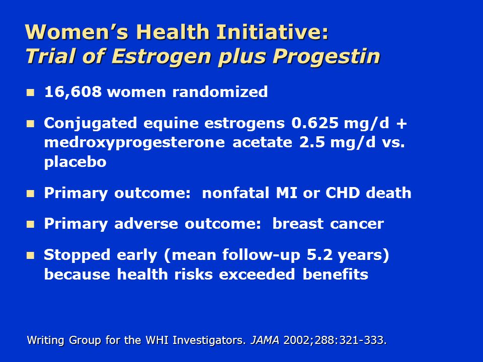 Women's Health Initiative: Trial of Estrogen plus Progestin