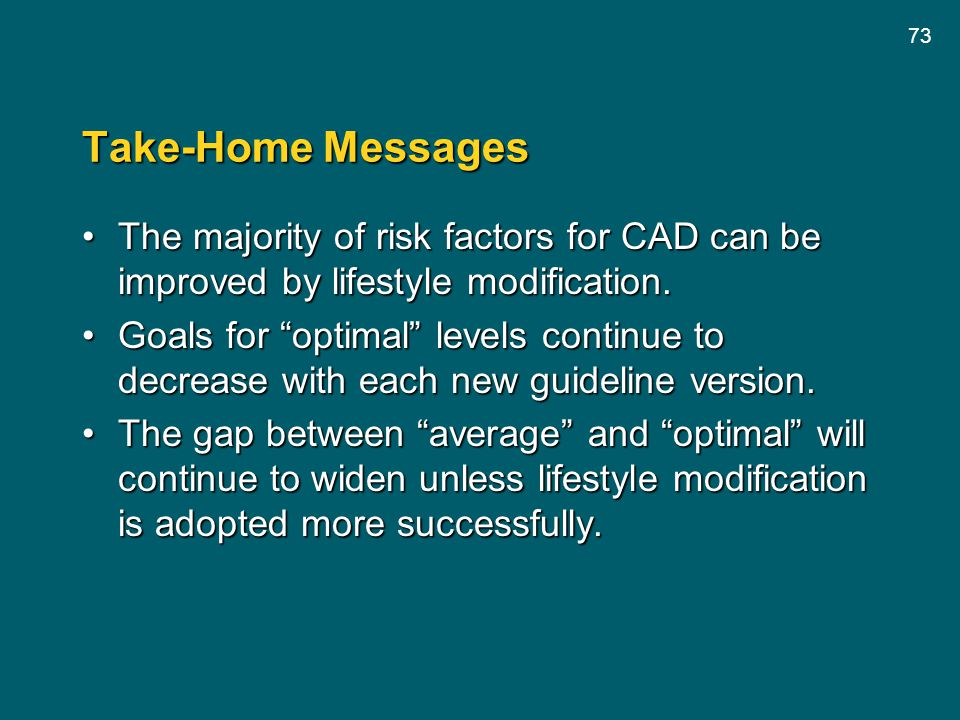 Take-Home Messages The majority of risk factors for CAD can be improved by lifestyle modification.