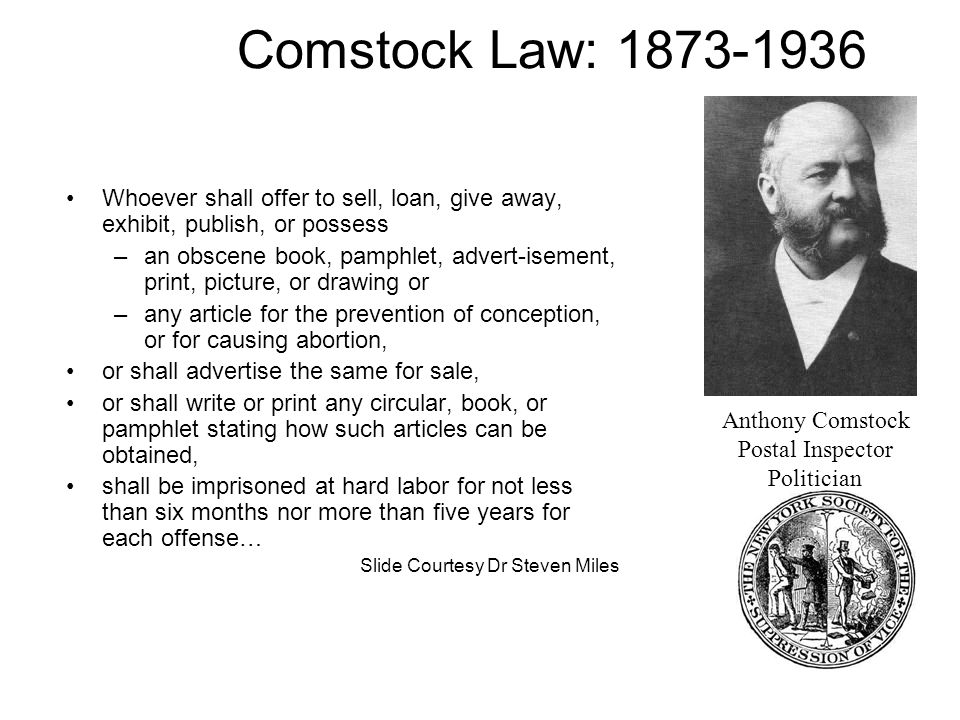Comstock Law: 1873-1936 Whoever shall offer to sell, loan, give away, exhibit, publish, or possess.