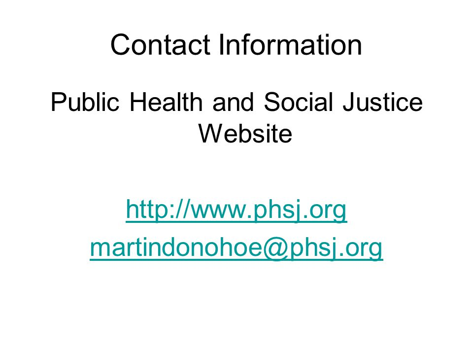 Public Health and Social Justice Website