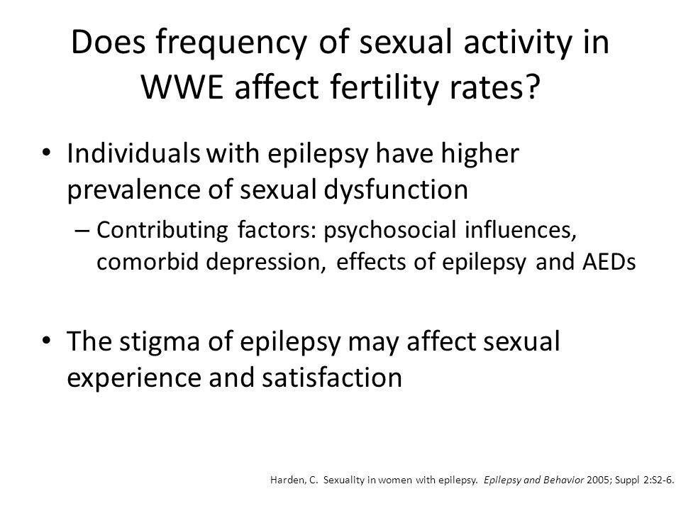 Does frequency of sexual activity in WWE affect fertility rates