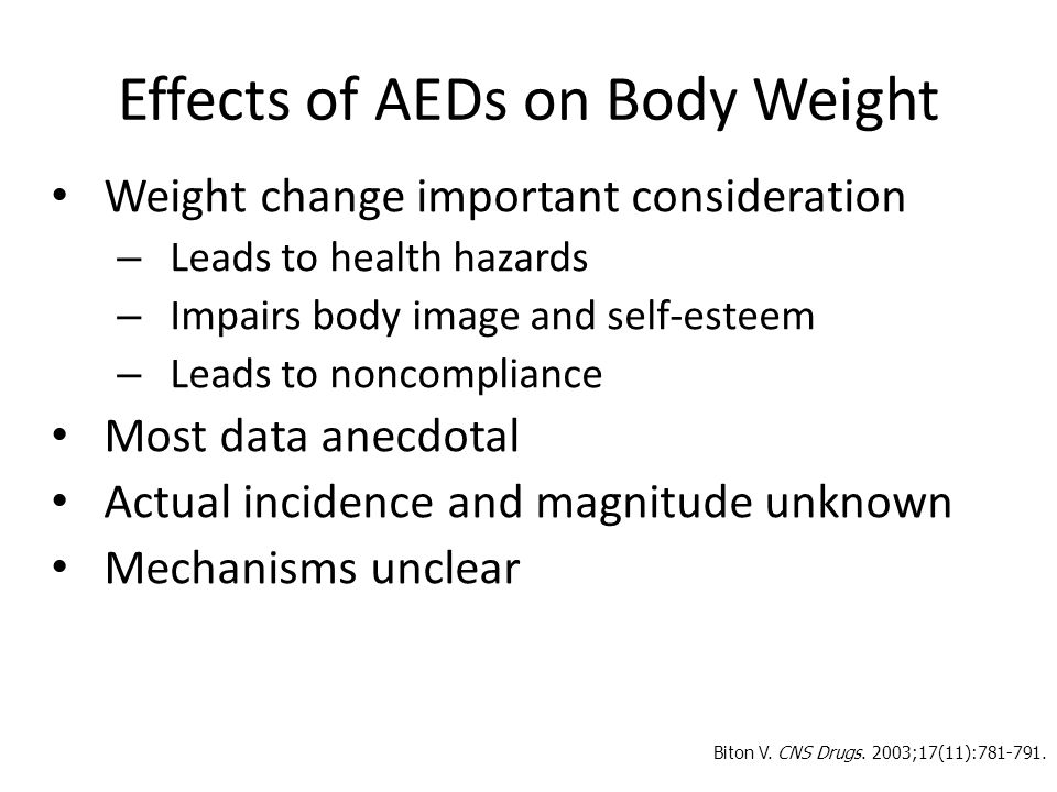 Effects of AEDs on Body Weight
