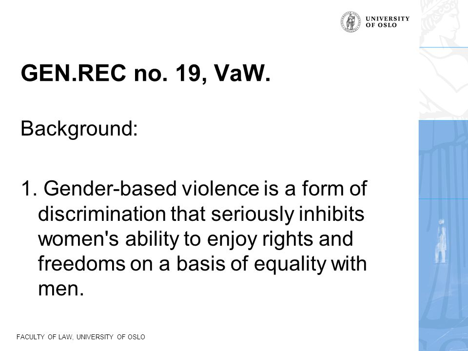 GEN.REC no. 19, VaW. Background:
