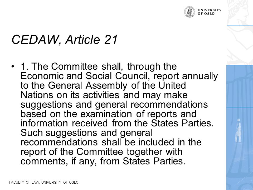 CEDAW, Article 21