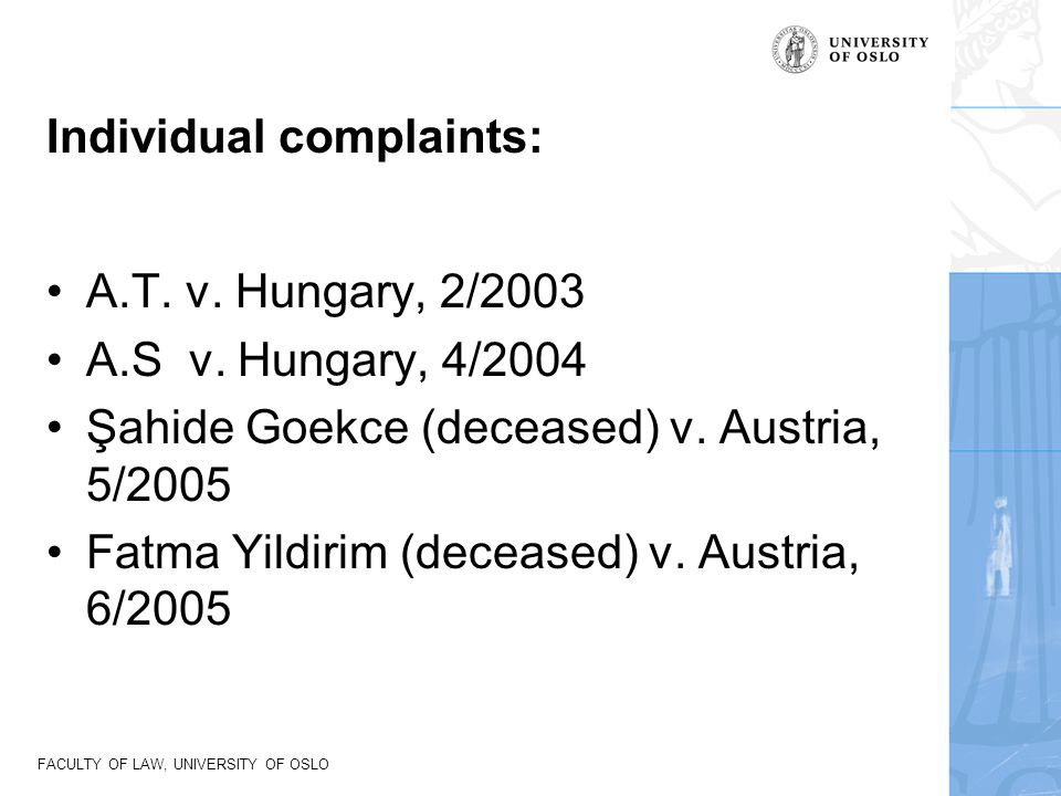Individual complaints: