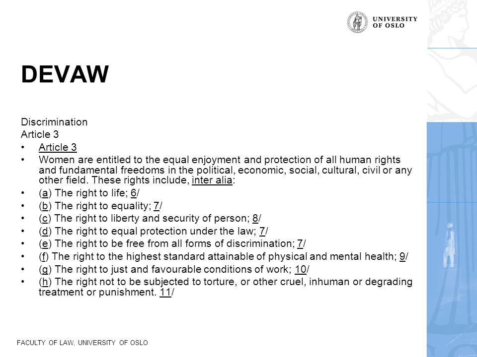 DEVAW Discrimination Article 3