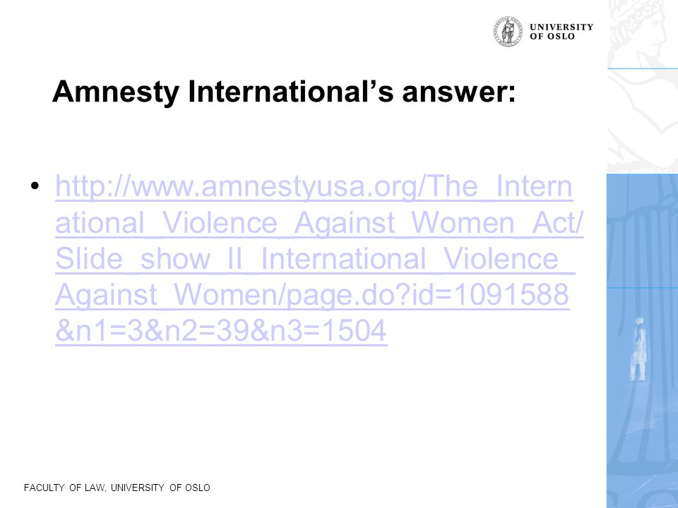 Amnesty International's answer: