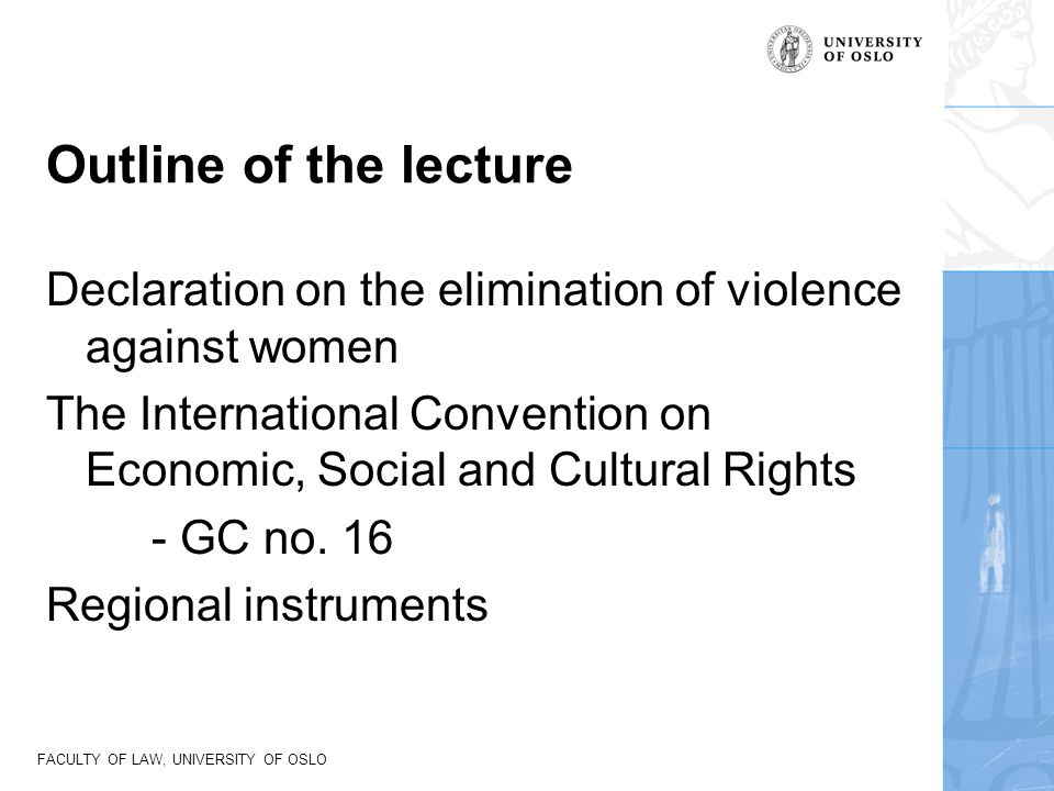 Outline of the lecture Declaration on the elimination of violence against women.