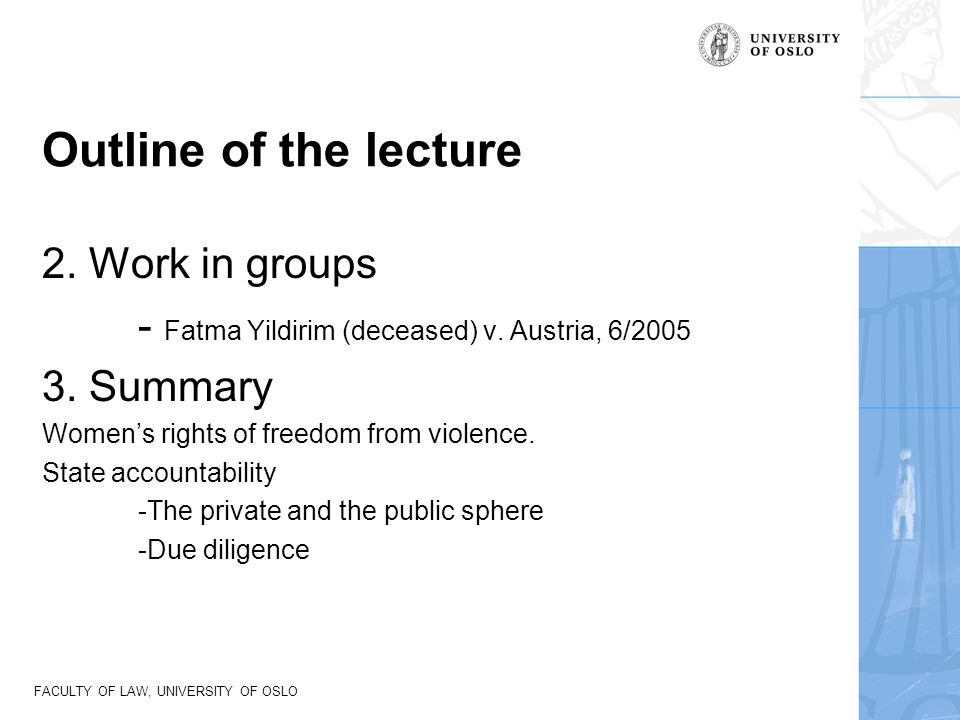 Outline of the lecture 2. Work in groups