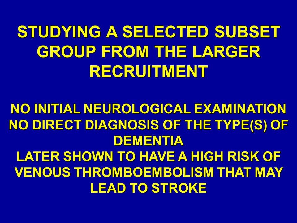 STUDYING A SELECTED SUBSET GROUP FROM THE LARGER RECRUITMENT