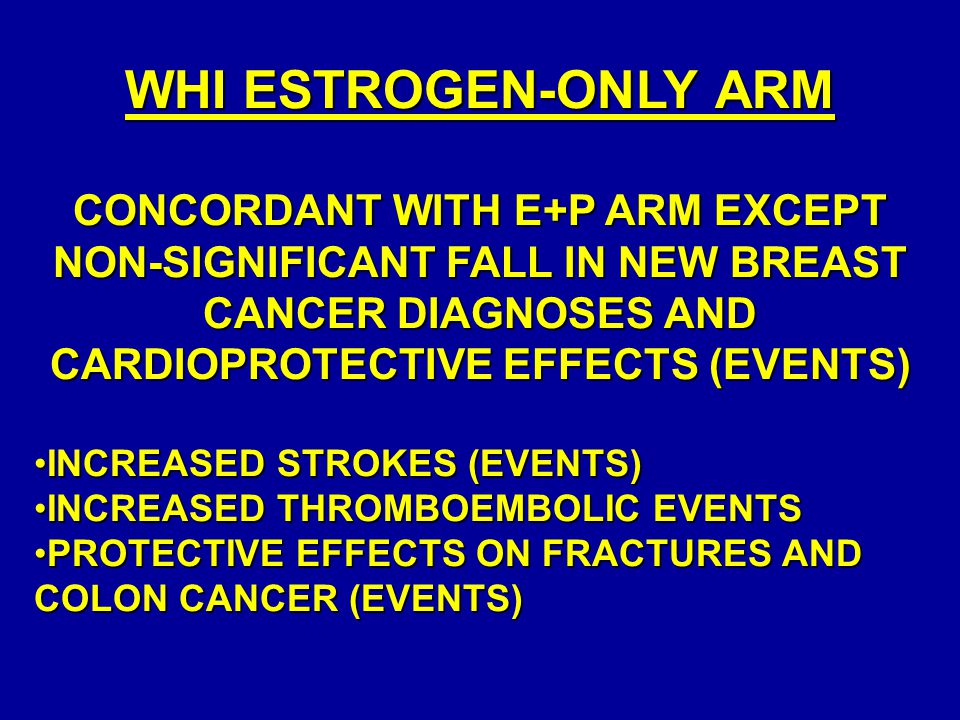 WHI ESTROGEN-ONLY ARM CONCORDANT WITH E+P ARM EXCEPT NON-SIGNIFICANT FALL IN NEW BREAST CANCER DIAGNOSES AND CARDIOPROTECTIVE EFFECTS (EVENTS)
