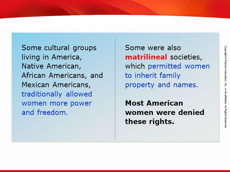 Some cultural groups living in America, Native American, African Americans, and Mexican Americans, traditionally allowed women more power and freedom.