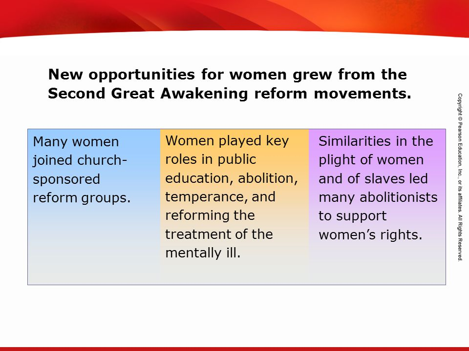 New opportunities for women grew from the Second Great Awakening reform movements.