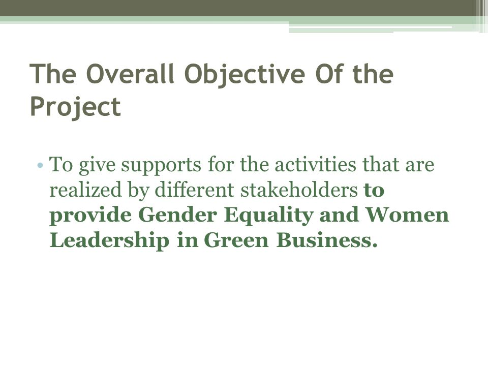 The Overall Objective Of the Project