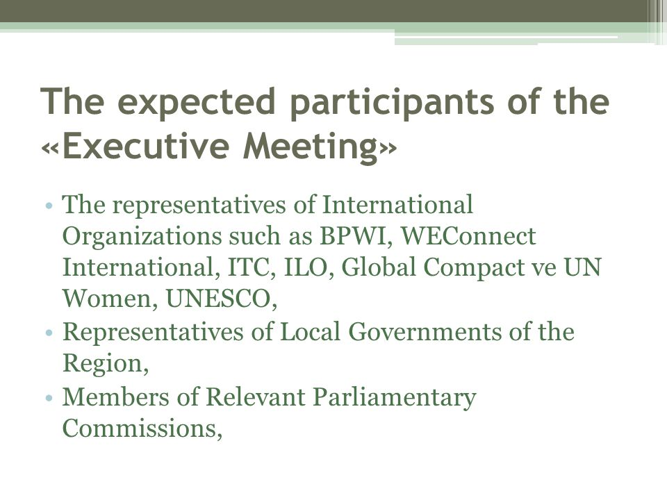 The expected participants of the «Executive Meeting»