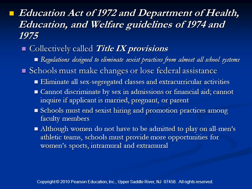 Education Act of 1972 and Department of Health, Education, and Welfare guidelines of 1974 and 1975