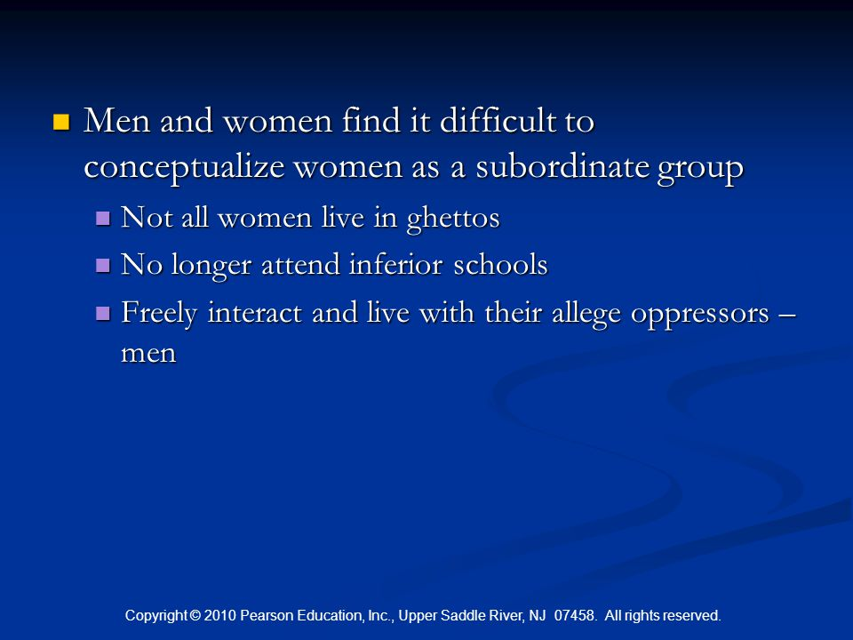 Men and women find it difficult to conceptualize women as a subordinate group