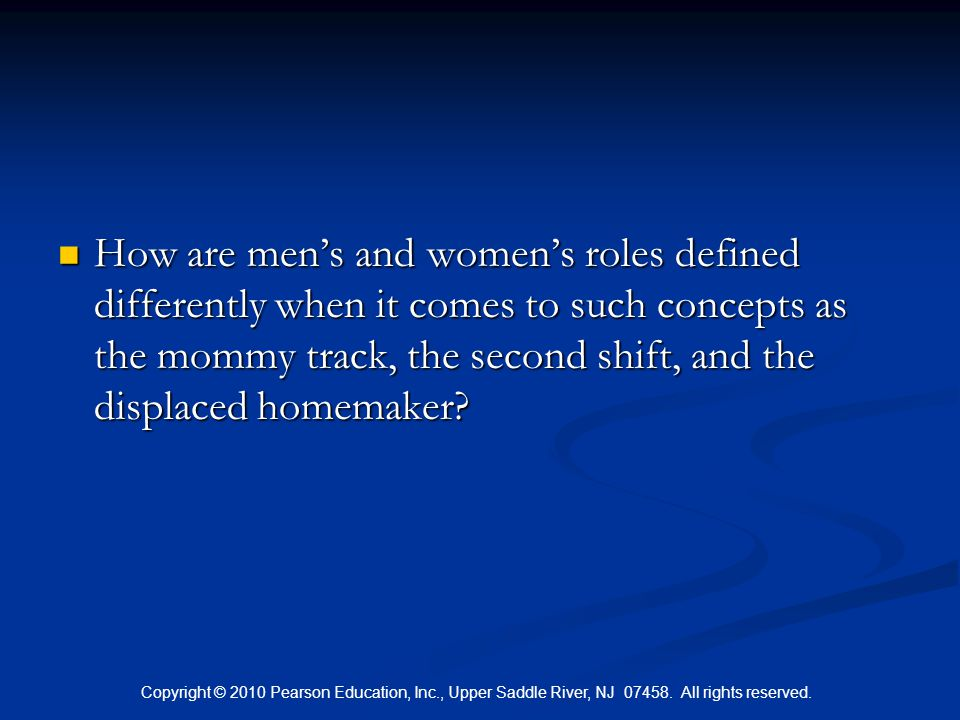 How are men's and women's roles defined differently when it comes to such concepts as the mommy track, the second shift, and the displaced homemaker