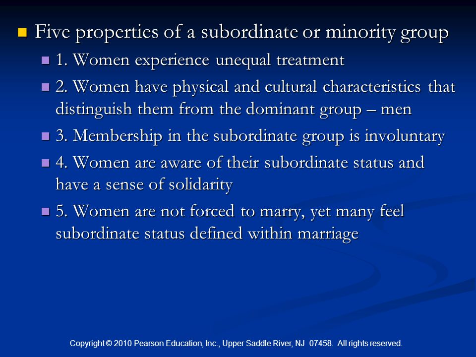 Five properties of a subordinate or minority group
