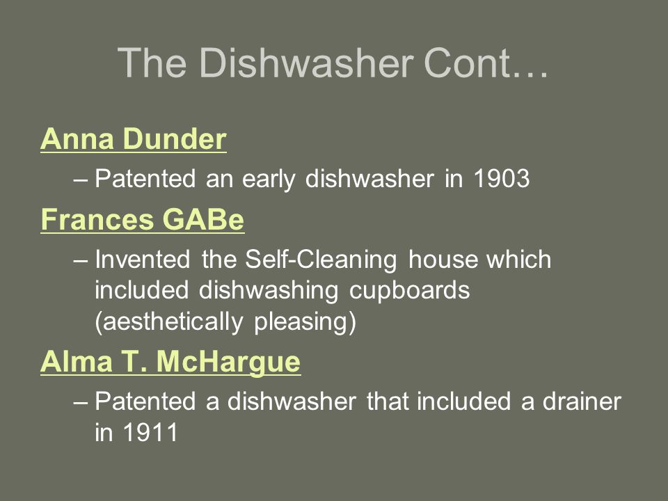 The Dishwasher Cont… Anna Dunder Frances GABe Alma T. McHargue