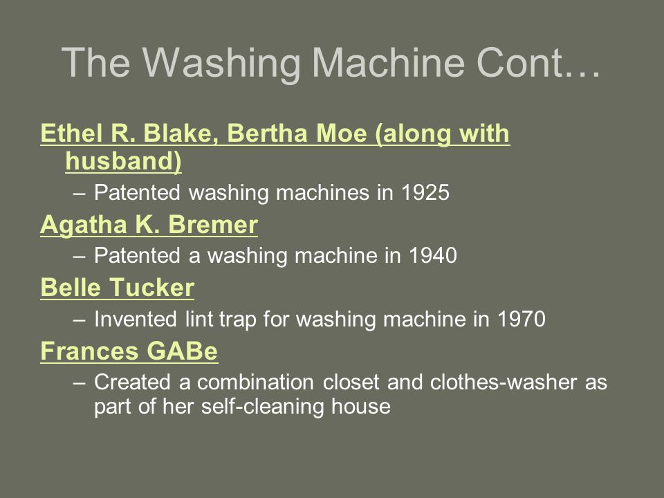 The Washing Machine Cont…