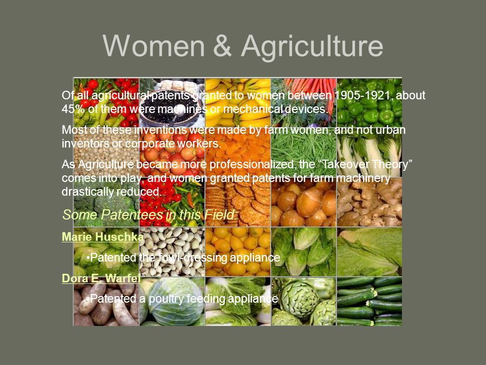 Women & Agriculture Some Patentees in this Field: